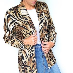 VINTAGE leopard animal print blazer jacket